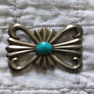 Vintage sterling & turquoise pin